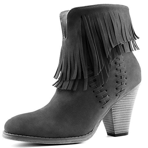 Women's Double Fringe High Top Ankle Booties High Heel Western Cowboy Boot