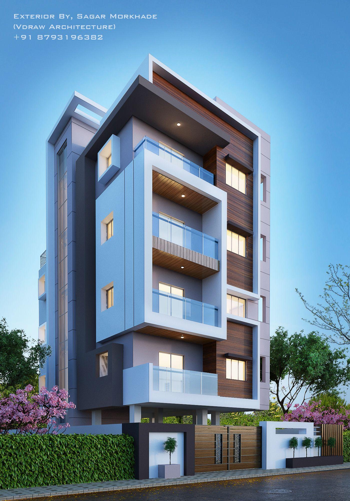 Exterior By Sagar Morkhade Vdraw Architecture 8793196382: Modern Residential Flat Scheme Exterior By, Sagar Morkhade (Vdraw Architecture) +91 8793196382