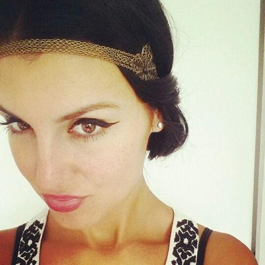 Headband bijou avec fleurs bronze et noir style bohème