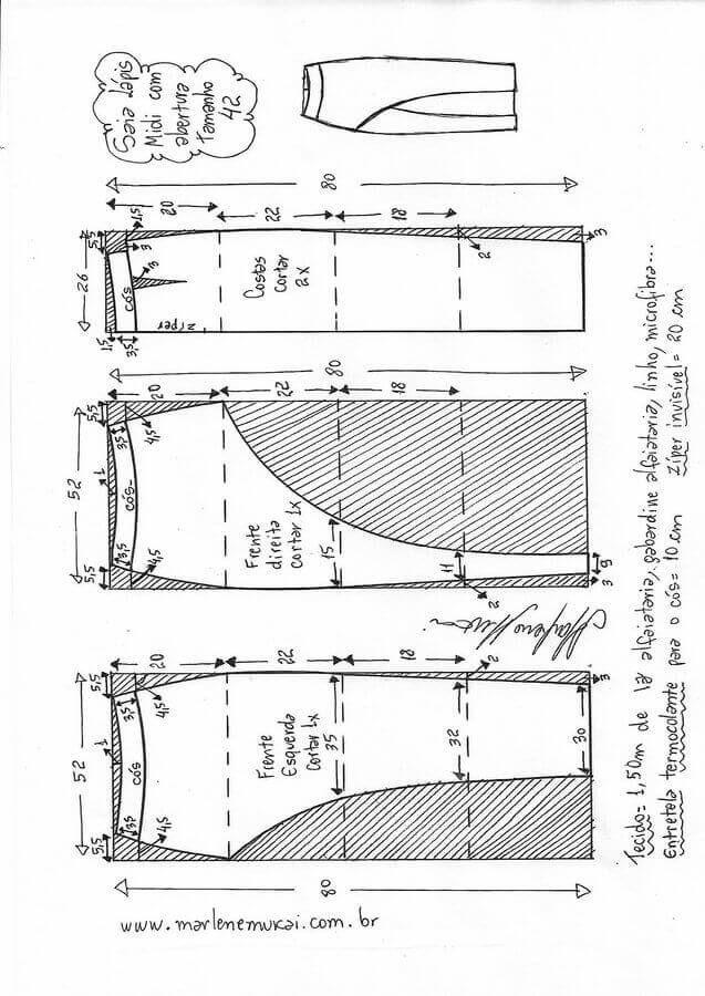 Patrón Falda lápiz con abertura lateral | Vestidos | Pinterest