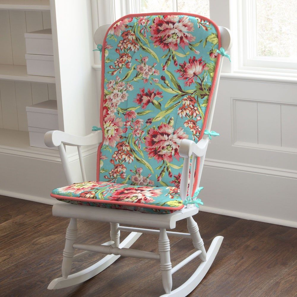 Coral and teal floral rocking chair pad rocking chair