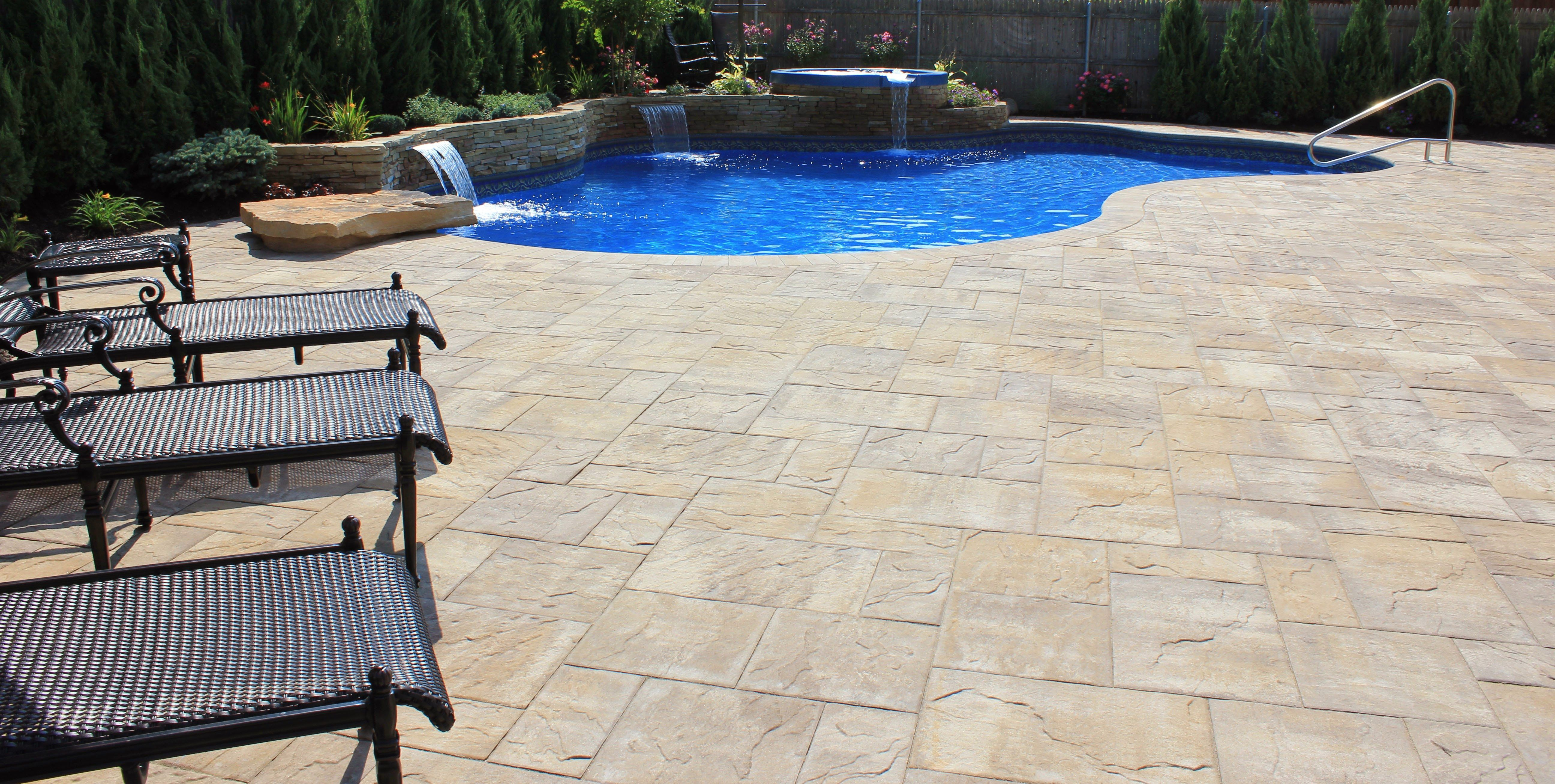 Cambridge Ledgestone Xl Sahara Chestnut Lite Paver Pool Patio Merrick Long Island Ny