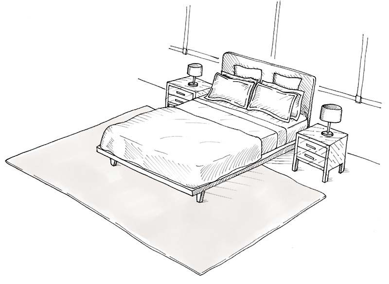 Choosing A Rug Bedroom Rug Placement Rug Placement Rug Under Bed