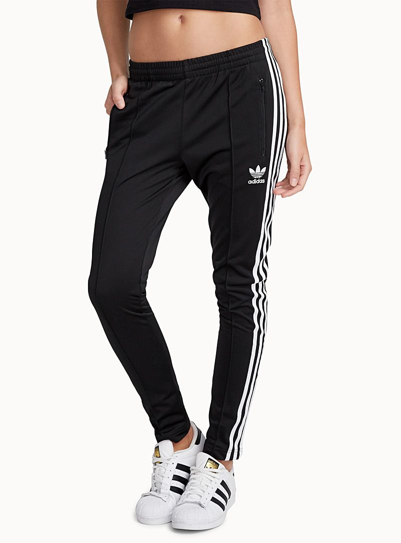 adidas nero stripe jogging bottoms