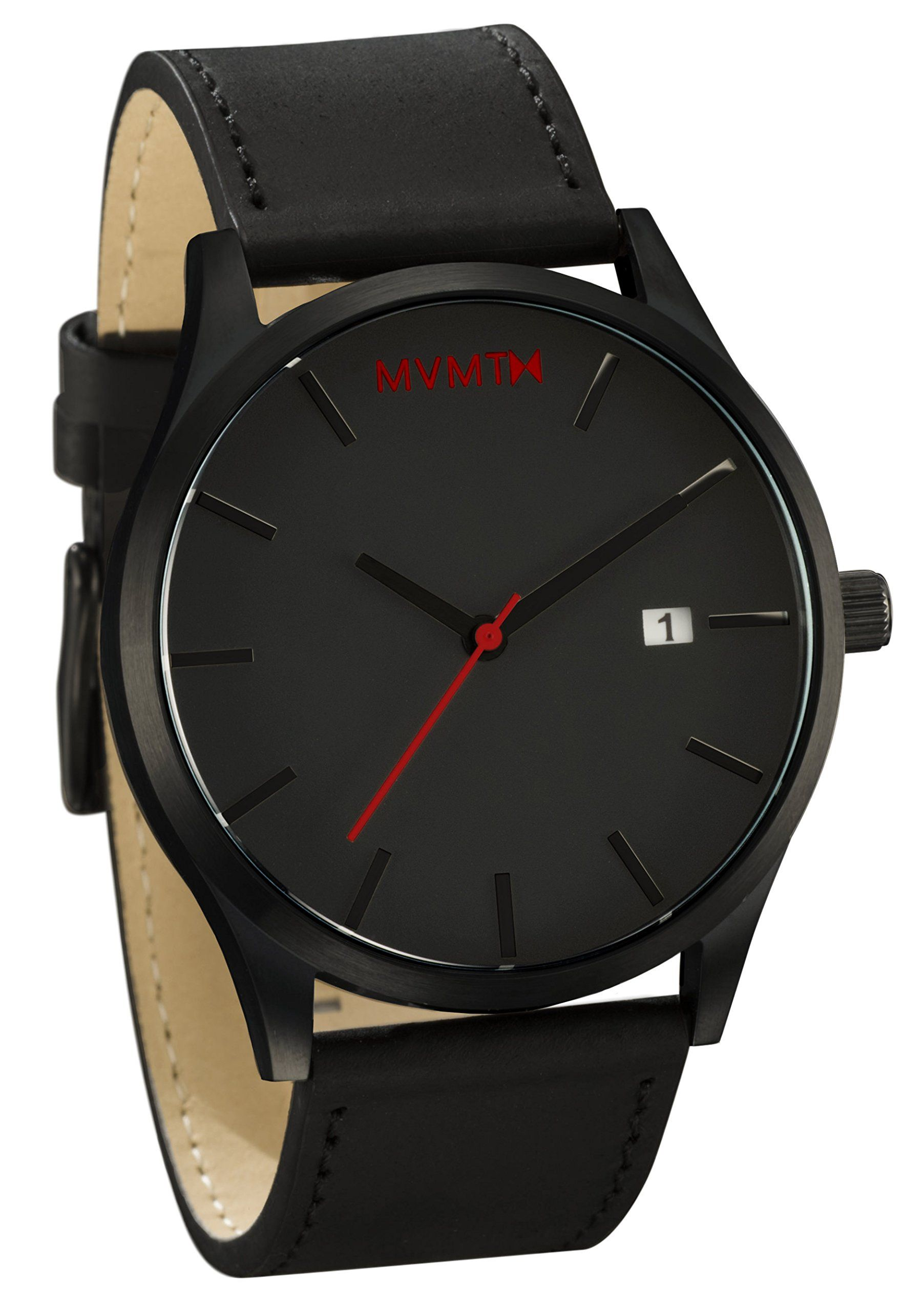 Mvmt Uhren Mvmt Watches Black Face With Black Leather Strap Men S Watch