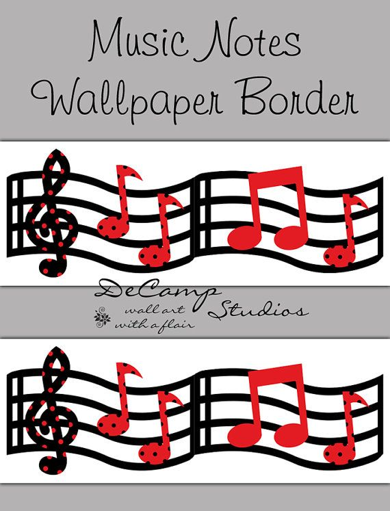 Red And Black Music Musical Notes Wallpaper Border Wall Art Decals For Modern Home Room Sticker Decor Decampstudios
