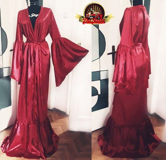 Red Satin Dressing Gown, Silky Red Satin Bride Dressing Gown ...