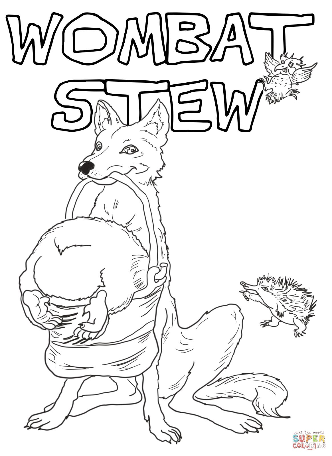 Dingo And Wombat In A Pot Coloring Page