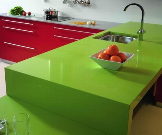 Silestone Quartz Green Fun   Bar Top Idea (w/ White Orange Red