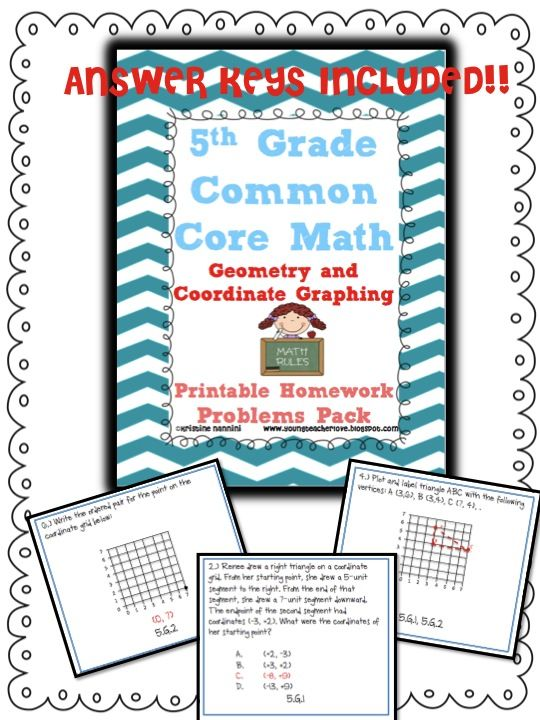 5th Grade Math Review or Homework Problems {Geometry}