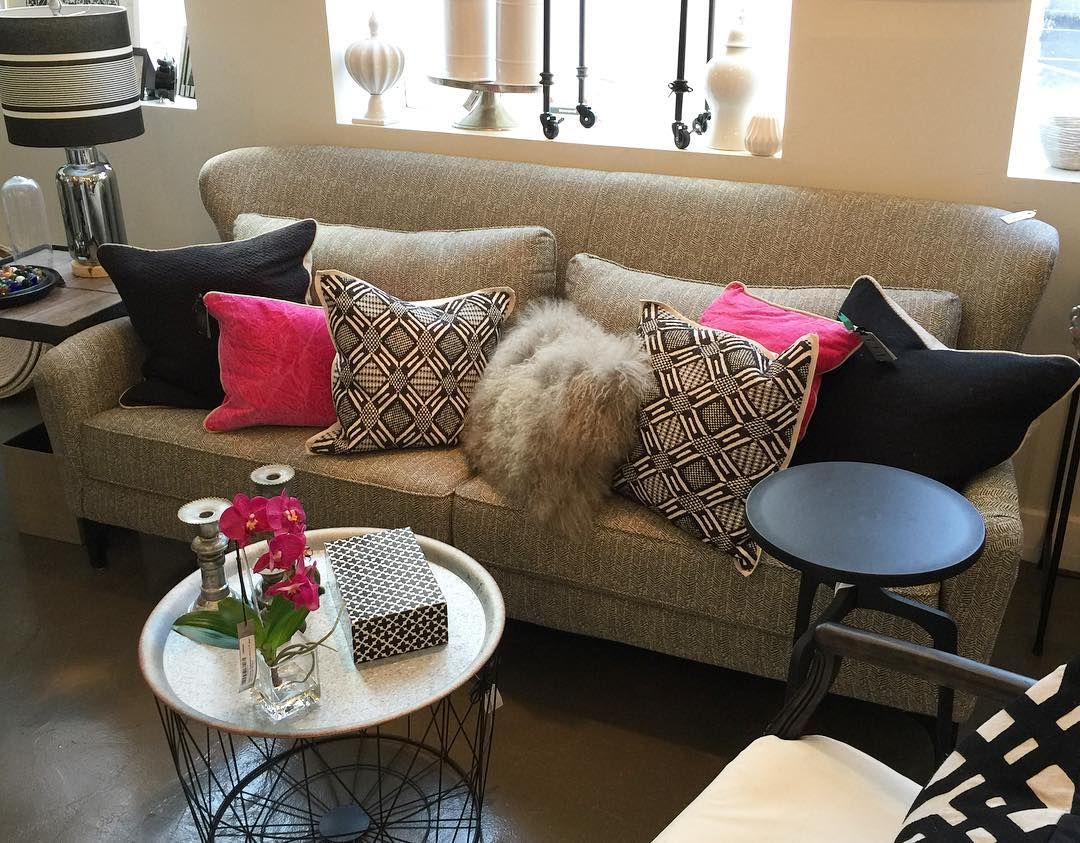 Fuschia pink and grey in our front showroom a pop of color to add a