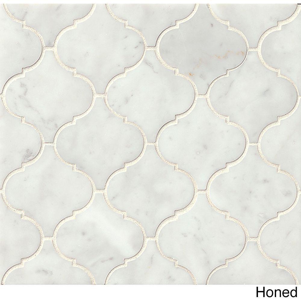 Bedrosians White Carrara Arabesque Mosaic Honed Stone Tile (Box of ...