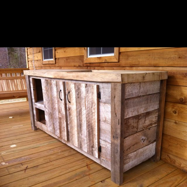 kitchen cabinet from reclaimed barn wood. | Pallet kitchen ...