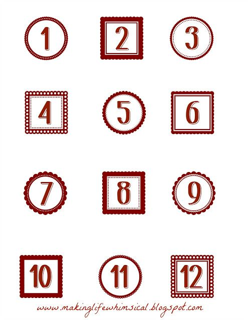 Making Life Whimsical Free Printable Advent Numbers (toward - countdown calendar template