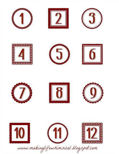 Making Life Whimsical Free Printable Advent Numbers (toward - countdown calendar template
