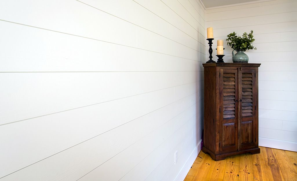 Not Shiplap/ Nickel Gap Wallboard, 1×6 Knotty Pine Flooring
