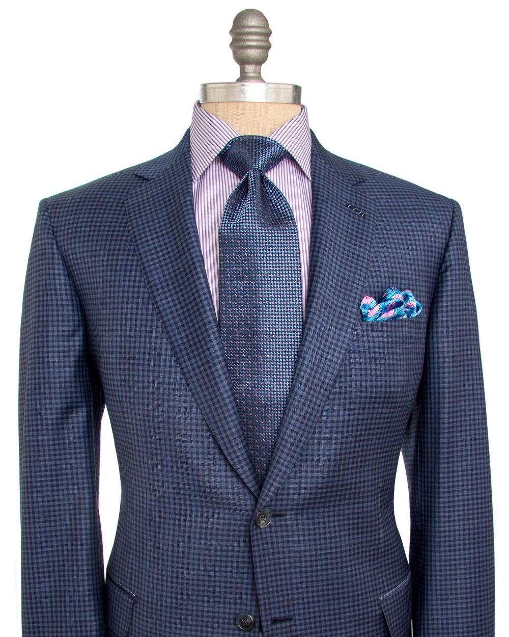 Brioni | Navy and Purple Plaid Sportcoat | Apparel | Men's