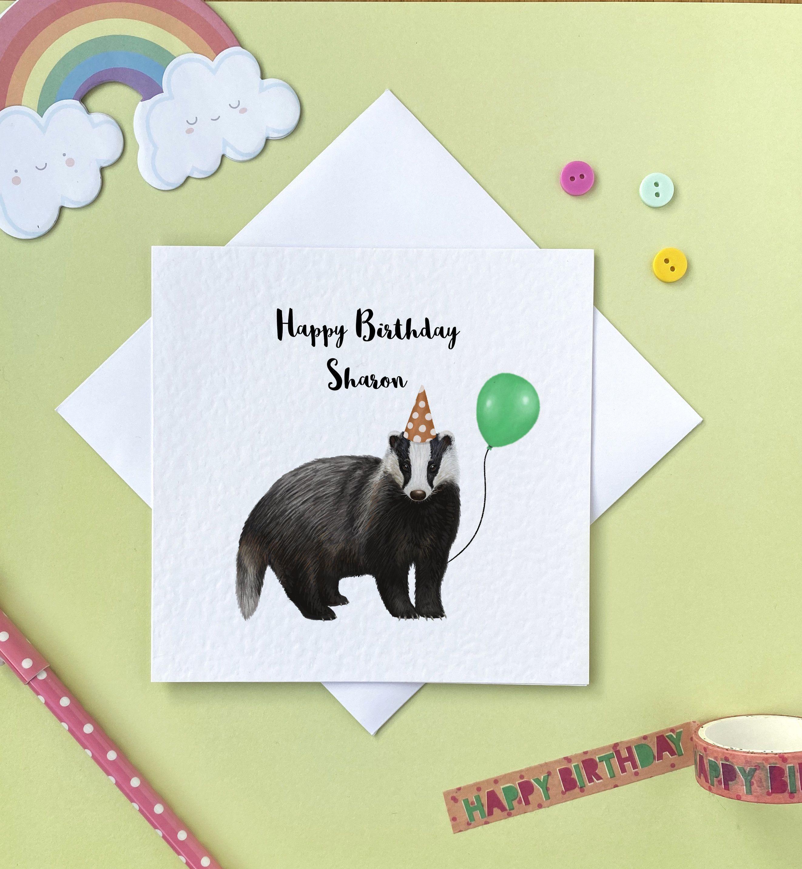 Badger Birthday Card Cute Birthday Card Badger Card Personalised Card Cute Badger Card Card For Cute Birthday Cards Birthday Cards Birthday Cards For Him