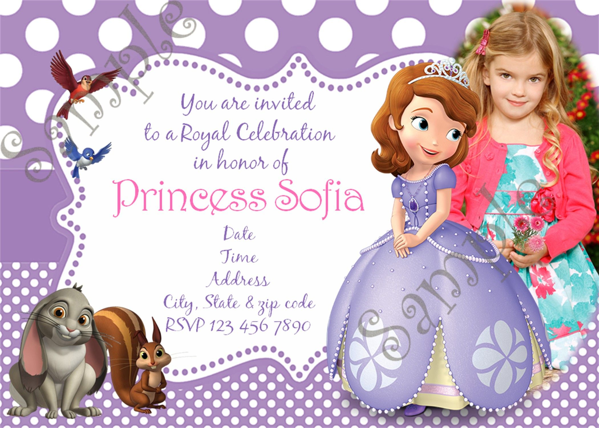 Sofia the first birthday party invitation sofia the first birthday sofia the first birthday party invitation filmwisefo