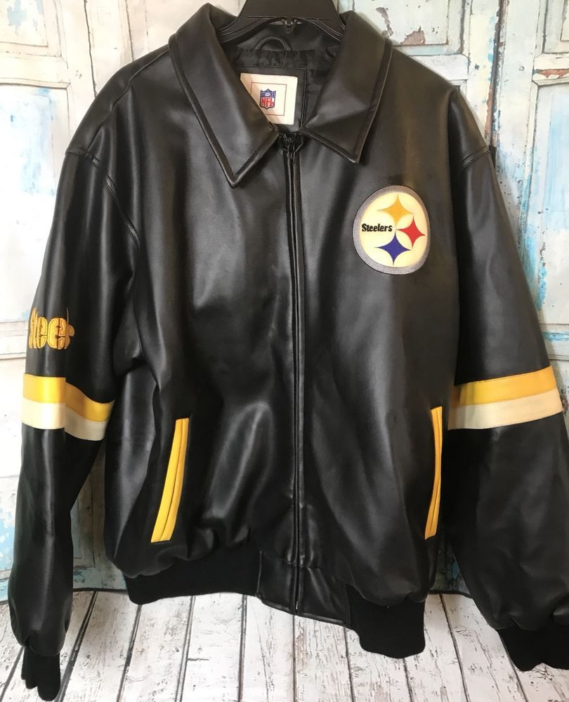 cbc3cef8 Vintage Pittsburgh Steelers NFL Faux Leather Mens XL Jacket Football ...