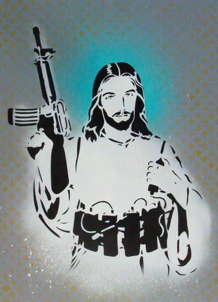 Jesus Bomber - Original Spray paint on Canvas - £69.50 over 10 months!!!