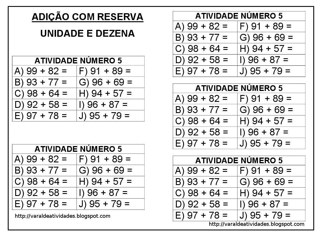 Varal De Atividades Adicao Com Reserva 50 Continhas Subtracao
