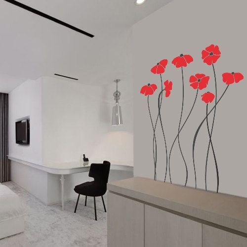 Charming Poppy Flowers Wall Decal Art Home Deco Vynil Living Room ...