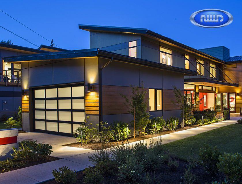 Modern Classic MC44 Black Anodized Finish   Satin Etch Glass   Garage Door
