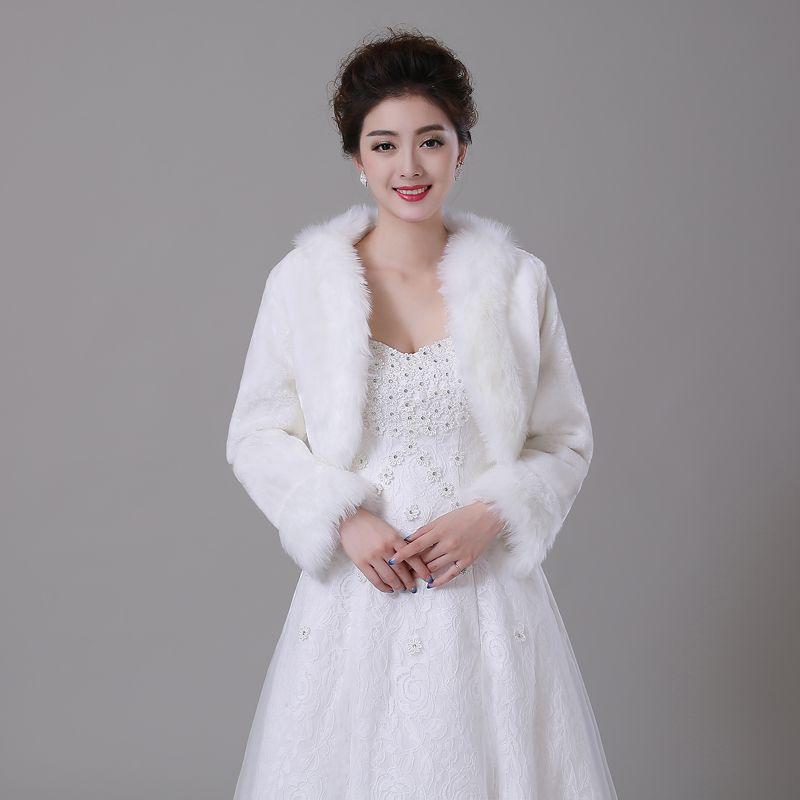 Women Winter Faux Fur Long Sleeve Wedding Jacket Bolero Wraps Bridal Coat