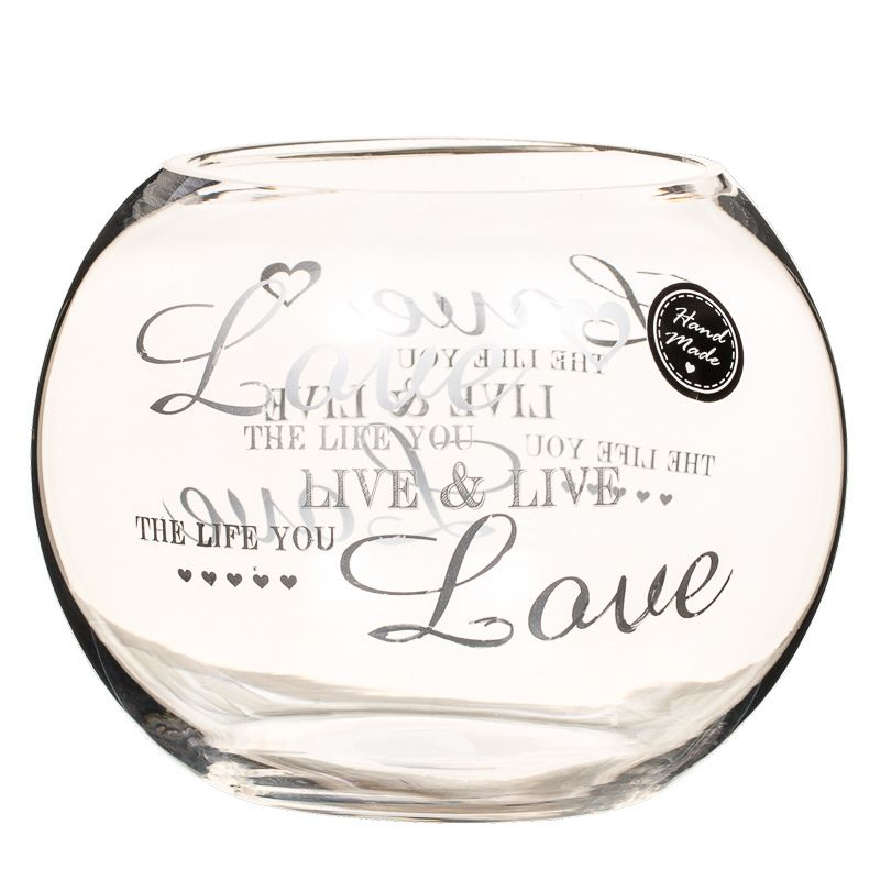 Printed Heart Fish Bowl Stunning Decorative Glass Vase To Brighten