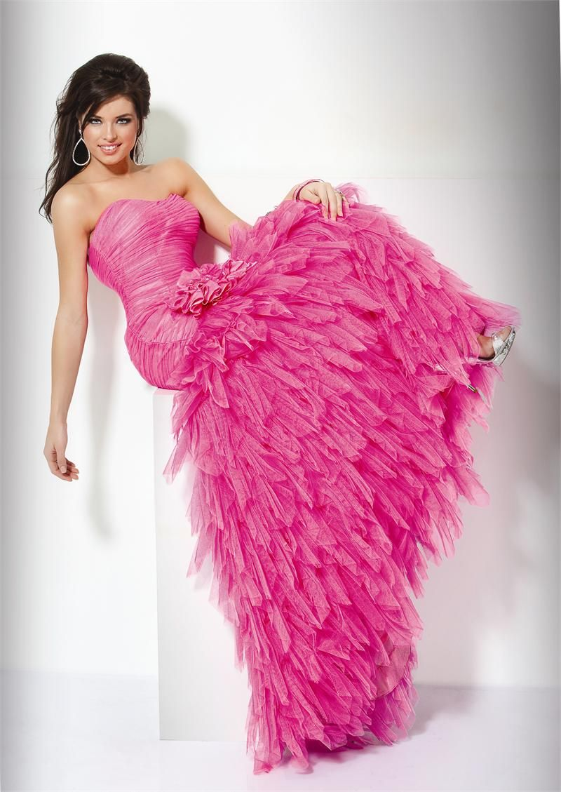 Hot Pink Wedding Bridesmaid Dress- Long, Floor Length, Strapless ...
