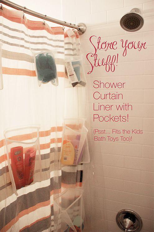 shower storage shower curtain