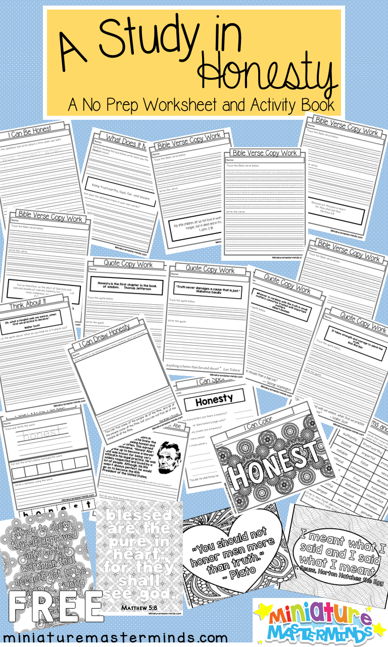 A Study In Honesty No Prep Worksheet And Activity Book Honesty Lesson Book Activities Honesty [ 1280 x 768 Pixel ]
