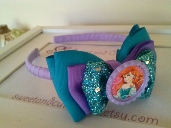 "THE LITTLE MERMAID Large Hair Bow Clip Big 8"" 8 Inch Jojo Disney Ariel Princess"