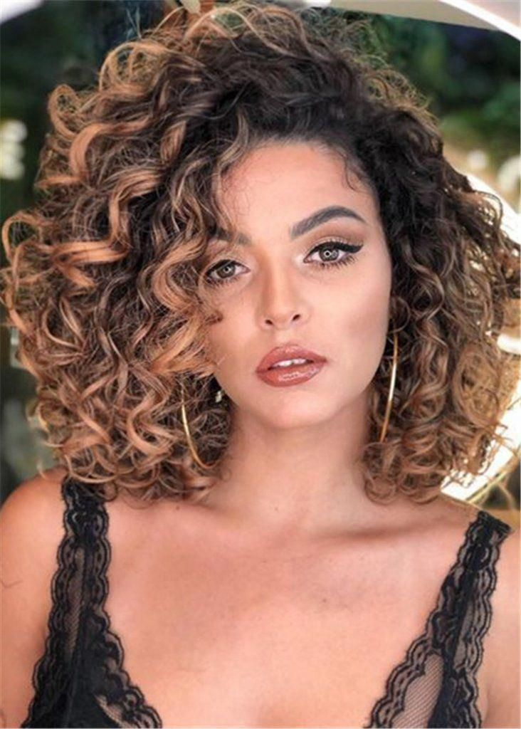 Capless Synthetic Hair Big Curly Women 16 Inches Wigs in
