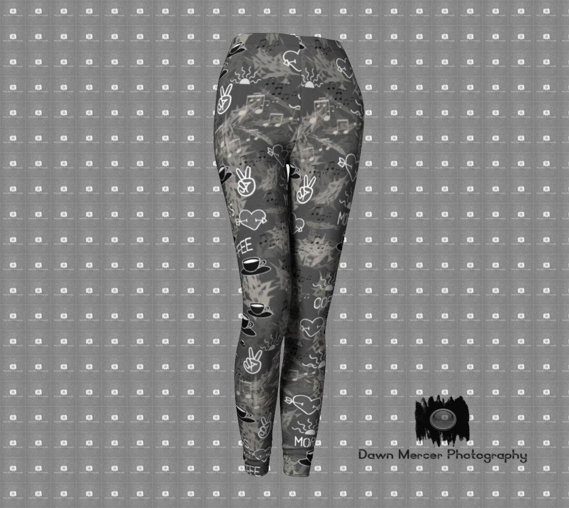 Printed Leggings Dark Grey, Coffee Print Leggings, Workout