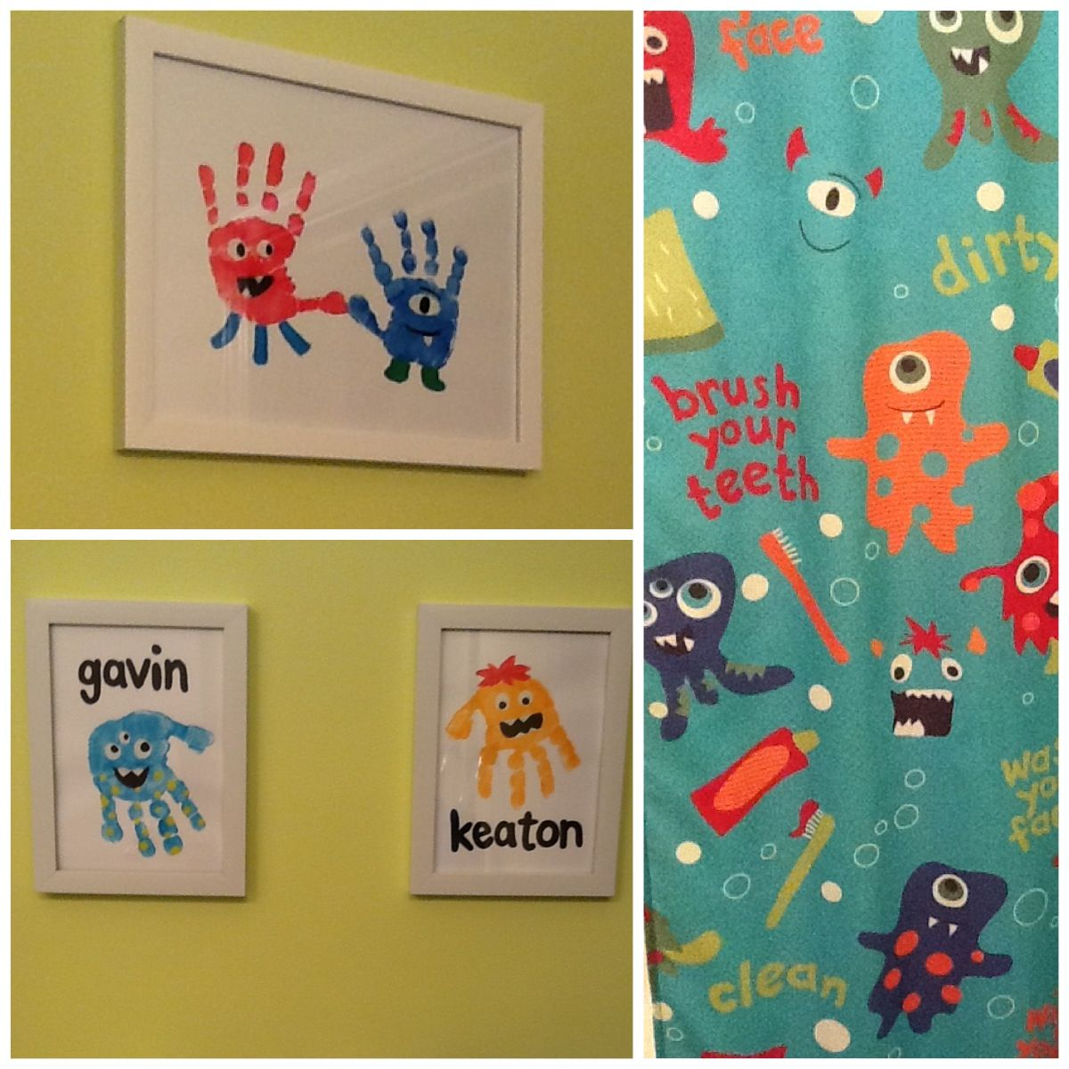 Monster hands for prints in the bathroom... Turned out super cute ...