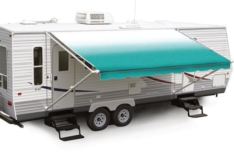 20 Teal Fade W Wht W G Rv Patio Awning Repl Fabric Canopy Fabric 19 2 Patio Awning Rv Awning Fabric Awning Canopy