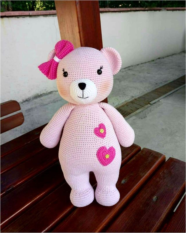 Knitting Toy Pink Beaded Recipe #knittedtoys