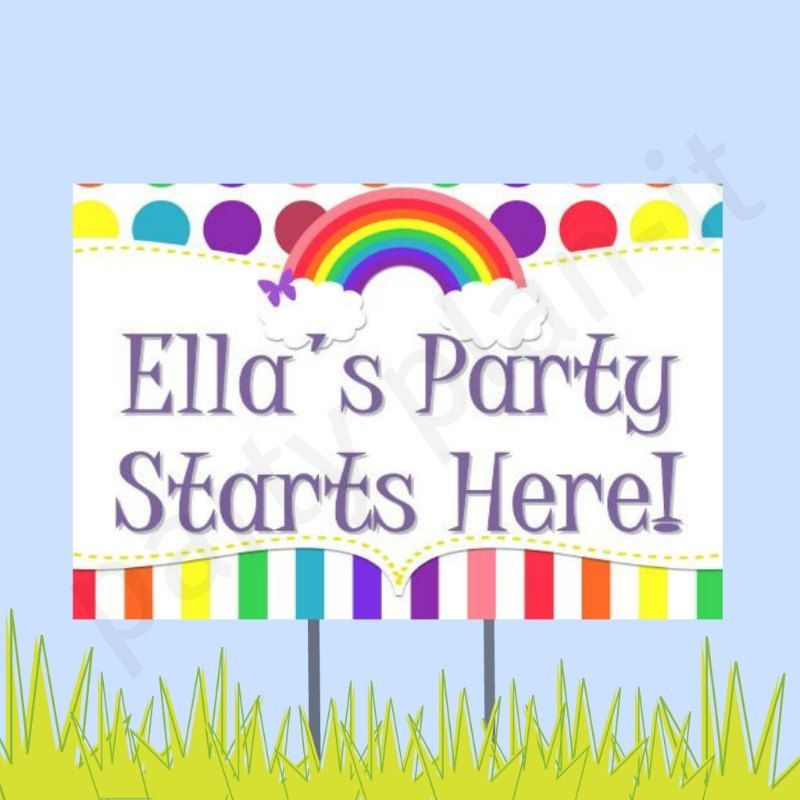 "18""x12"" Rainbow Party Lawn Sign. $20.00, via Etsy."