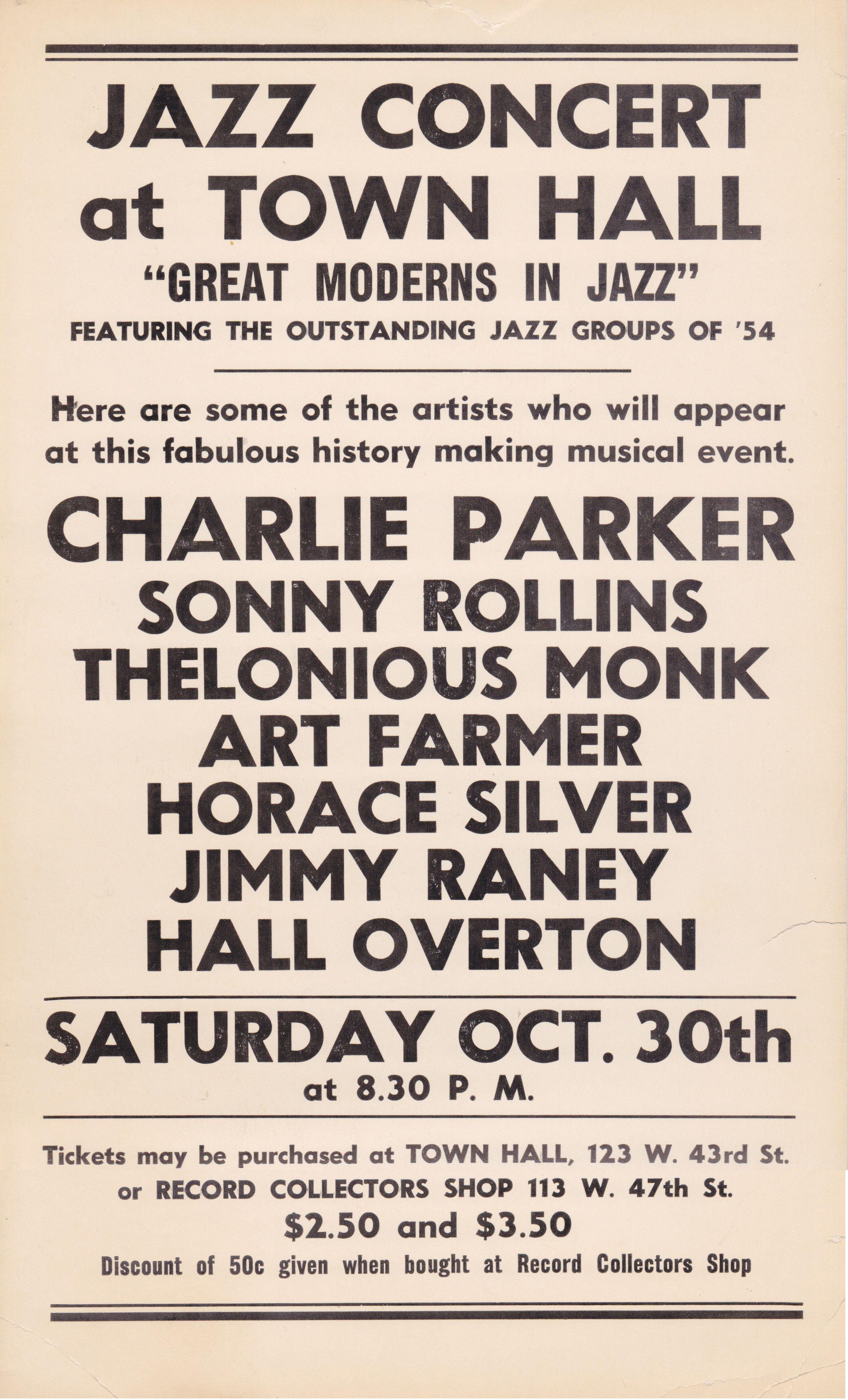 Jazz Festival 1949 Charlie Parker Vintage Concert Poster Miles Davis