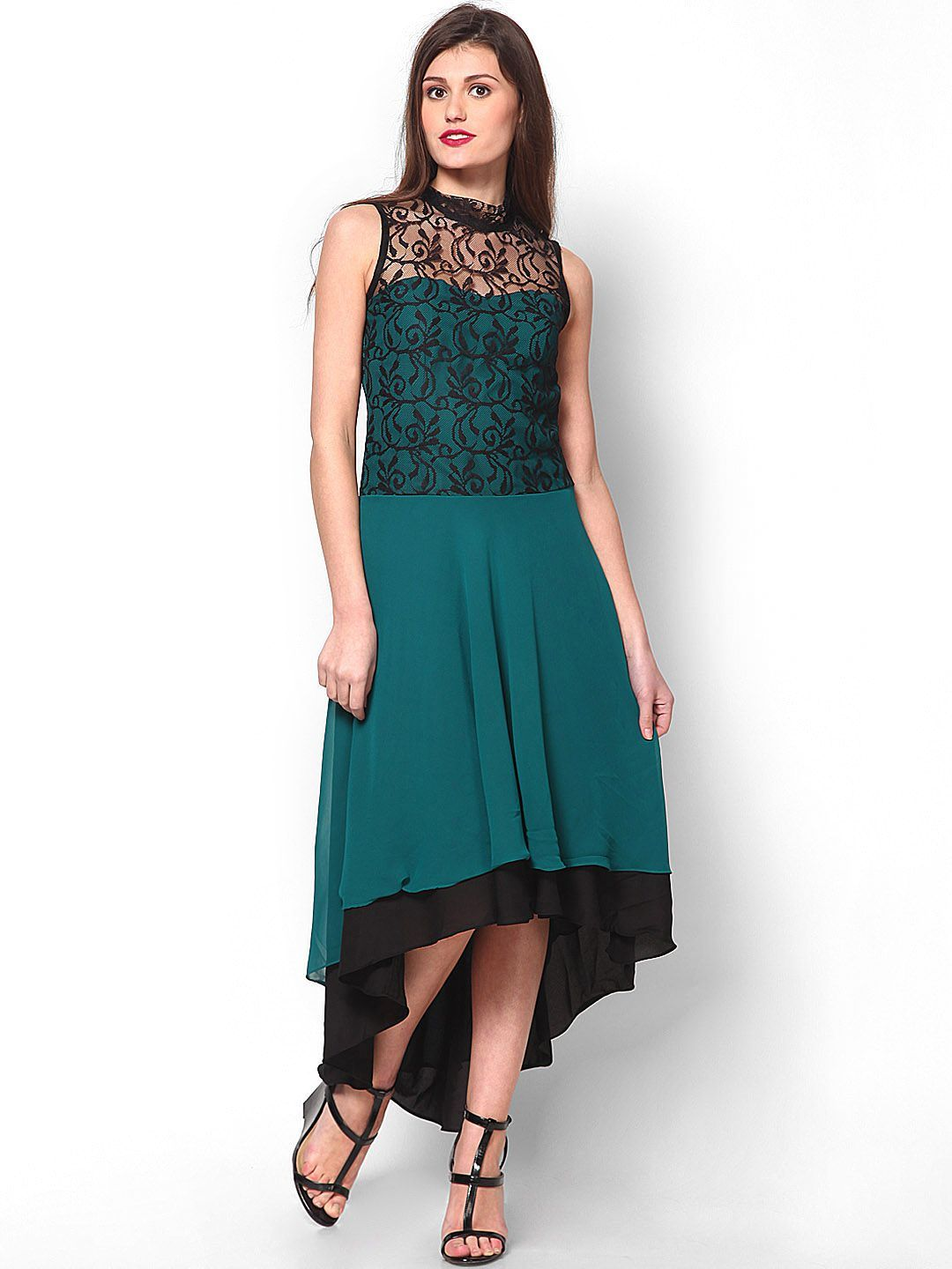0fc0a0219cce6 Buy Athena Teal Green   Black High Low Dress - 379 - Apparel for Women