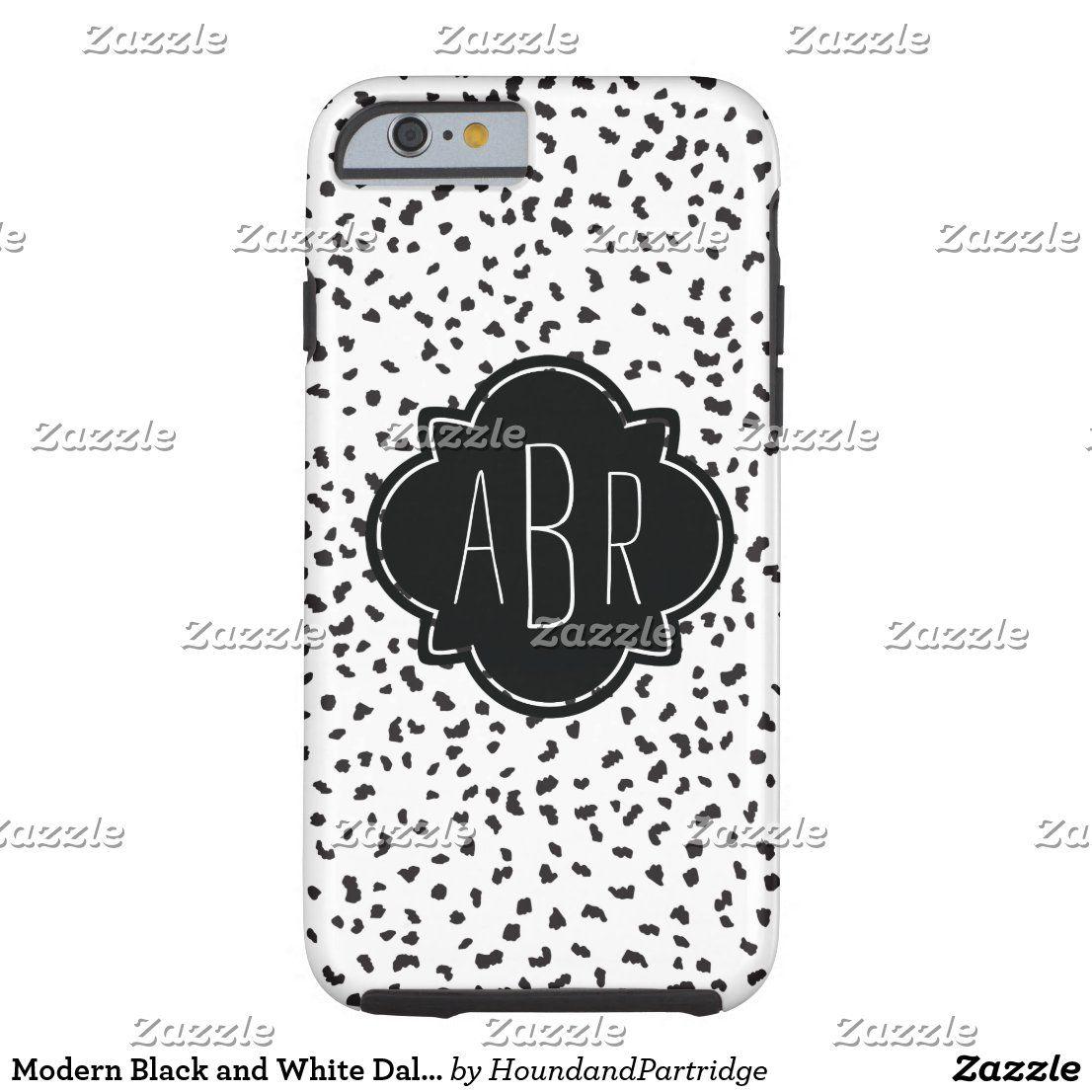 modern black and white dalmatian spots monogrammed case