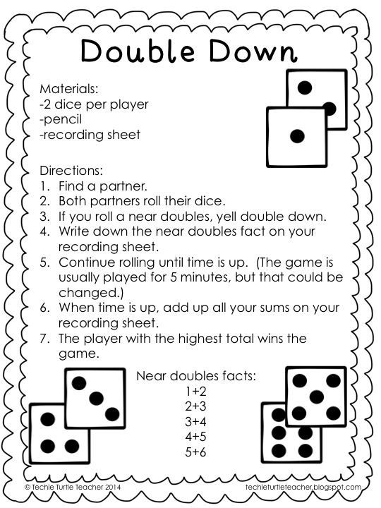 Freebie - Double Down game to practice adding near doubles or ...