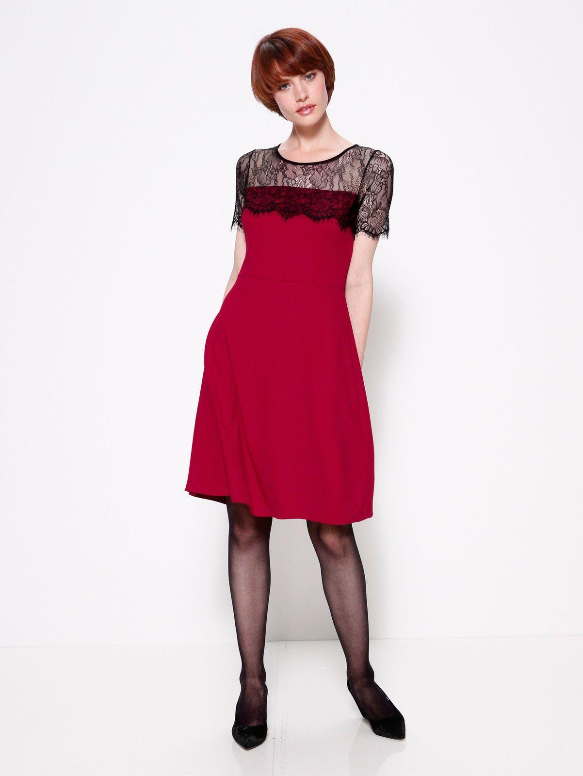 AMY VERMONT Kleid mit durchscheinender Spitze Neu in ...