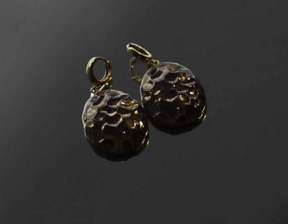 Handmade Oval Textured Purple Faience earrings by VanillaBeautiful