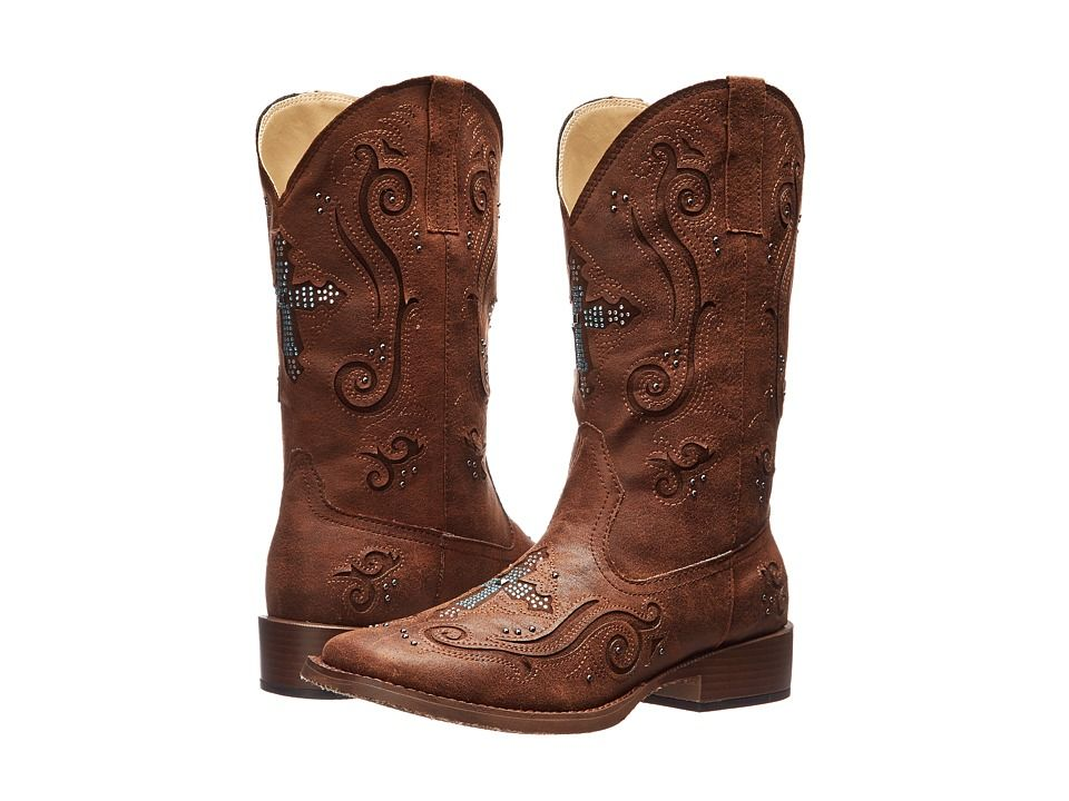 948a08a63f9f Roper Crystal Cross Square Toe Boot Cowboy Boots Brown
