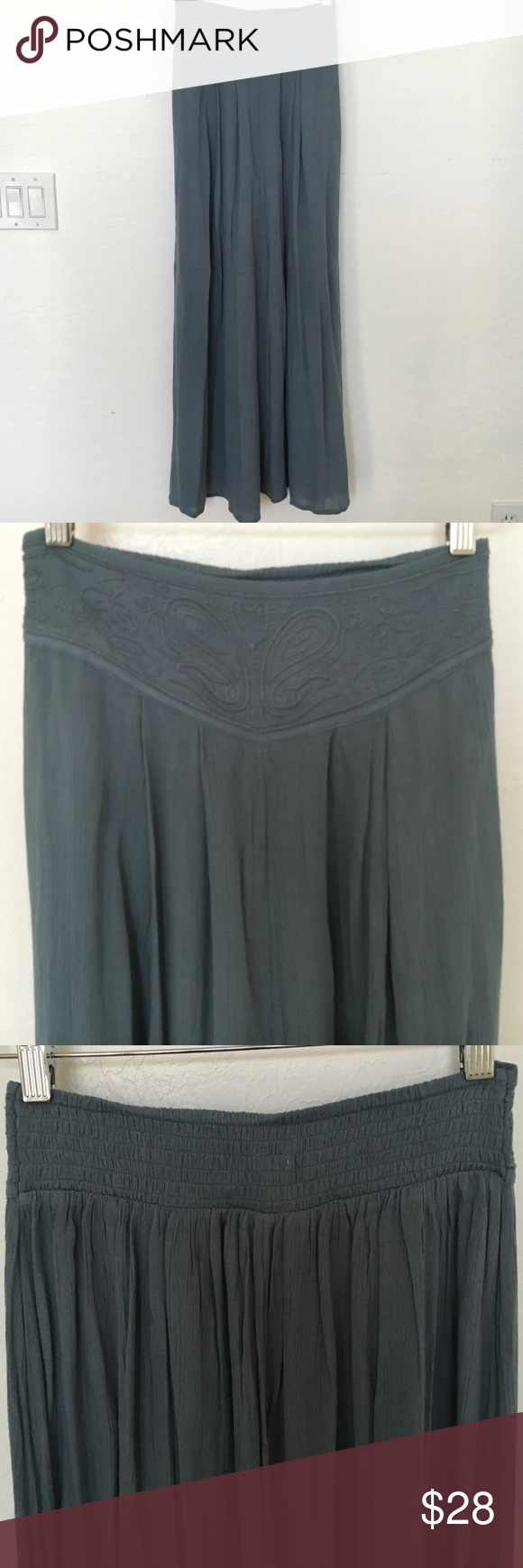 Sooo cute! Long unique skirt! This skirt has never been worn. High waisted and elastic back. Unique detail and beautiful blue-grey color. Urban Outfitters Skirts Maxi