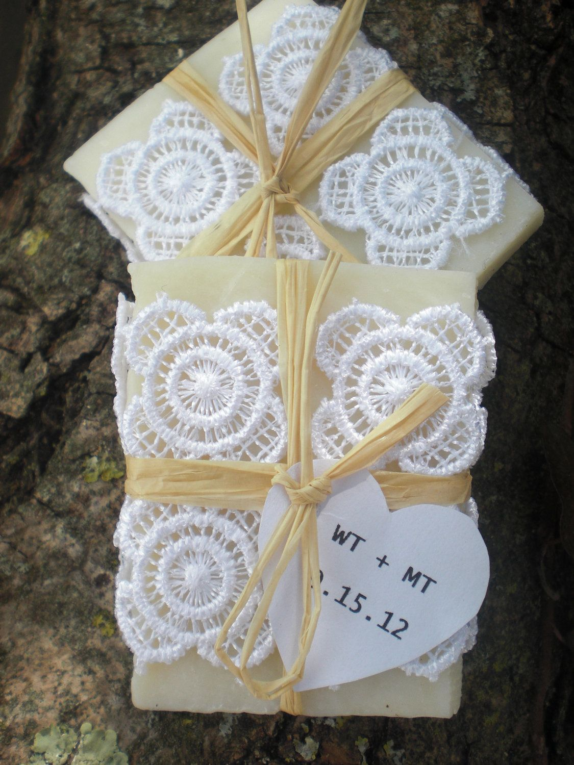 Wedding favors all natural soaps wrapped in lace weddingbox