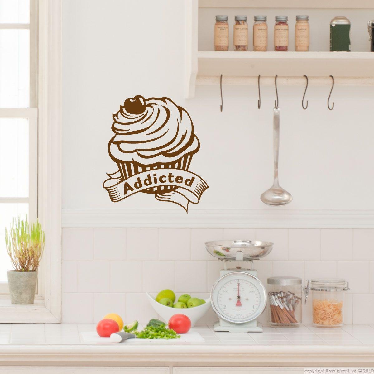 Stickers muraux pour la cuisine - Sticker petit gâteau accro